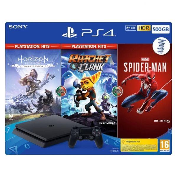Sony PlayStation 4 PS4 500GB Pack PlayStation Hits + Ratchet & Clank + Horizon Zero Dawn + Spider-Man